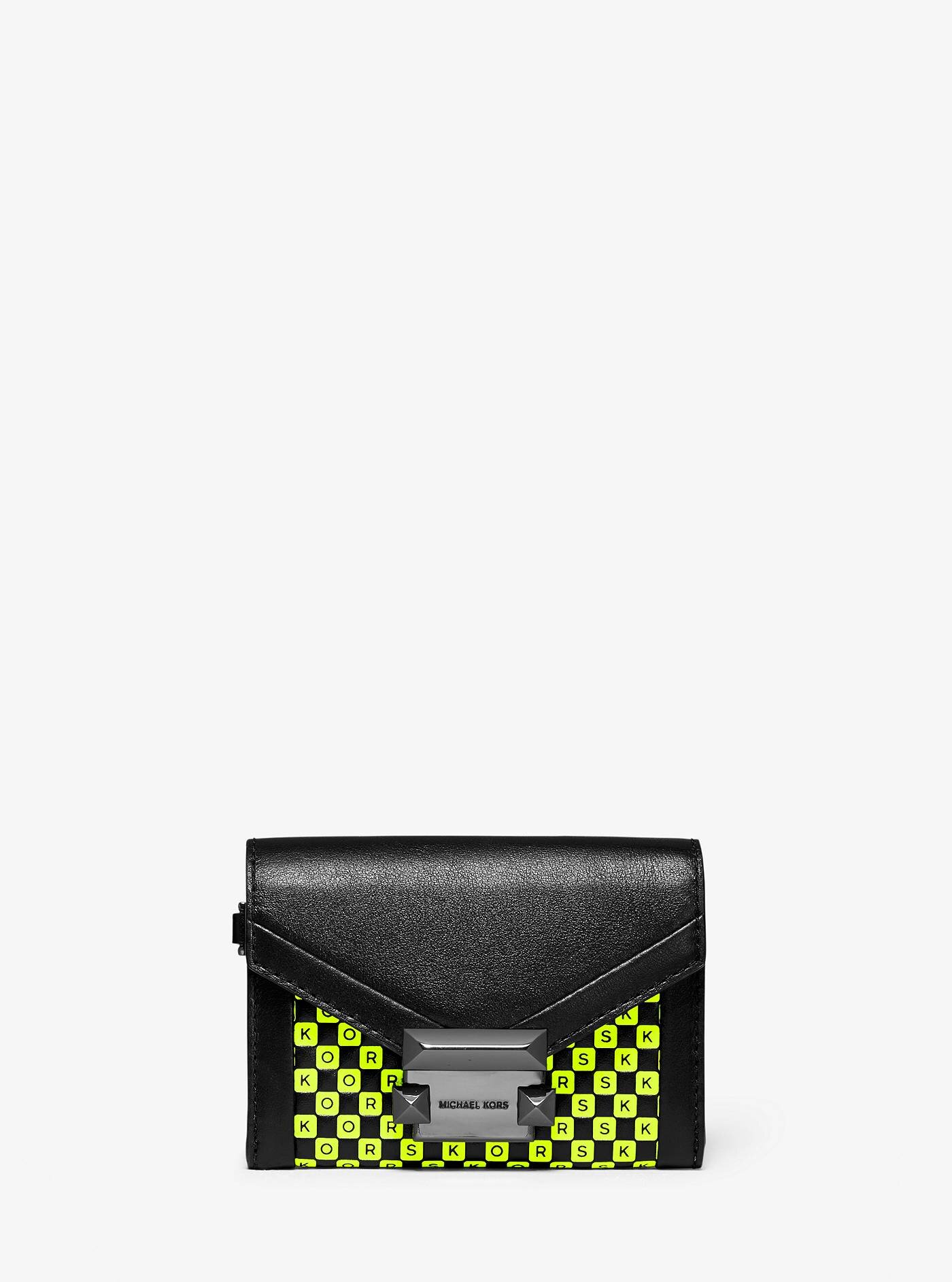 Whitney Small Checkerboard Logo Leather Chain Wallet