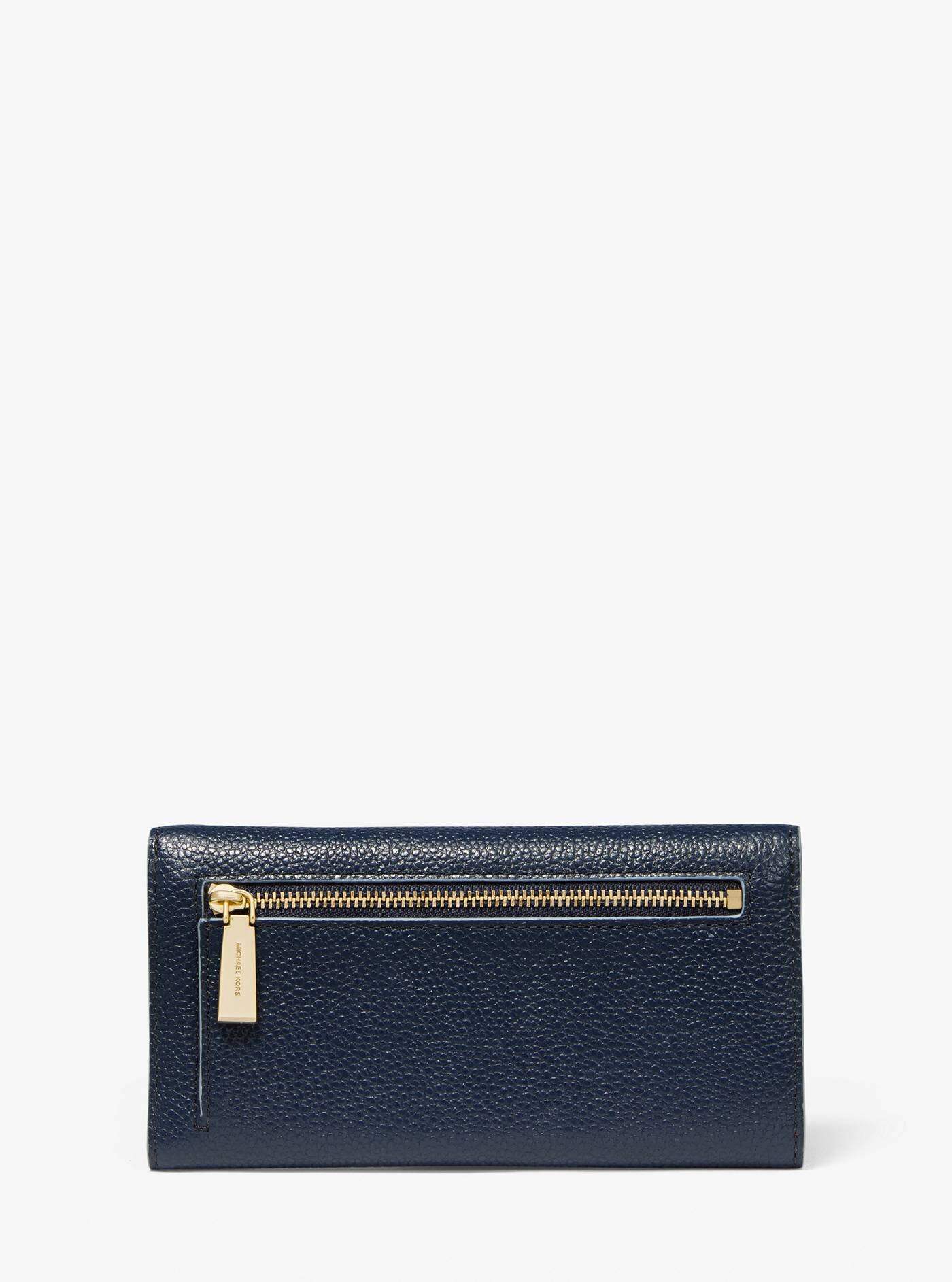 Large Two-Tone Pebbled Leather Envelope Wallet