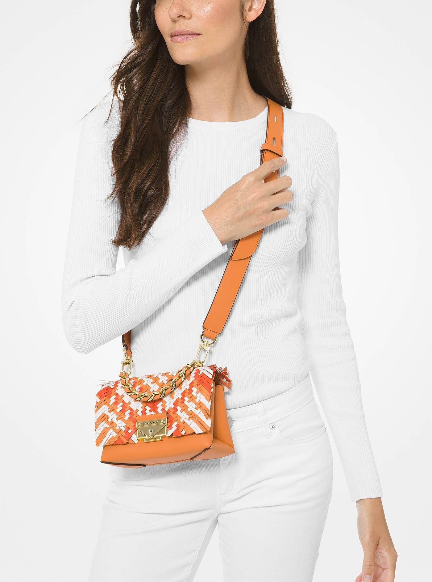 Cece Extra-Small Color-Block Woven Leather Crossbody Bag