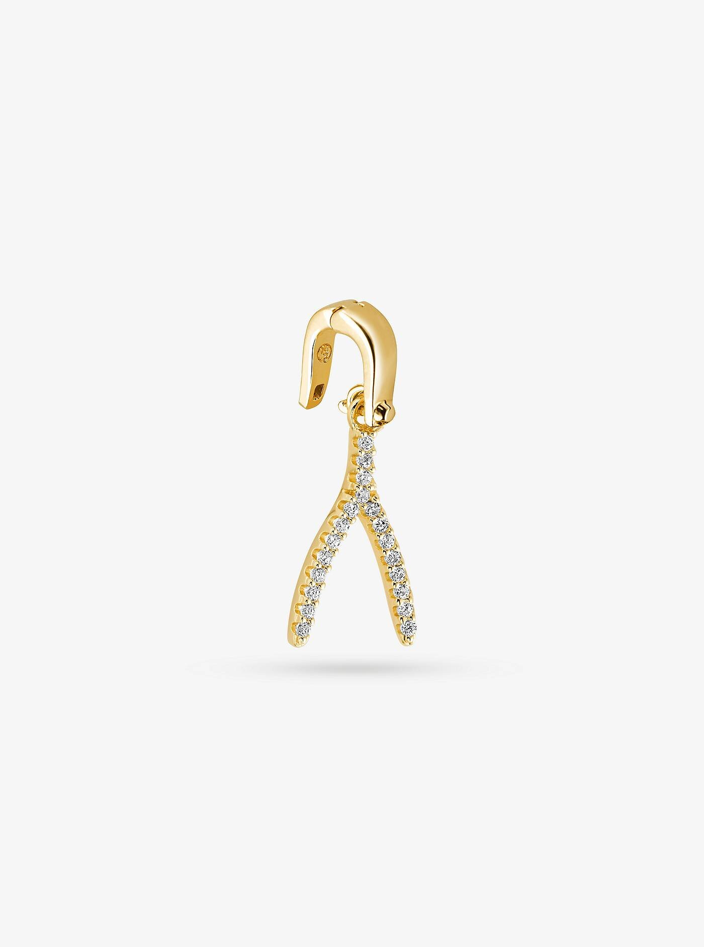 14K Gold-Plated Sterling Silver Pavé Wishbone Charm