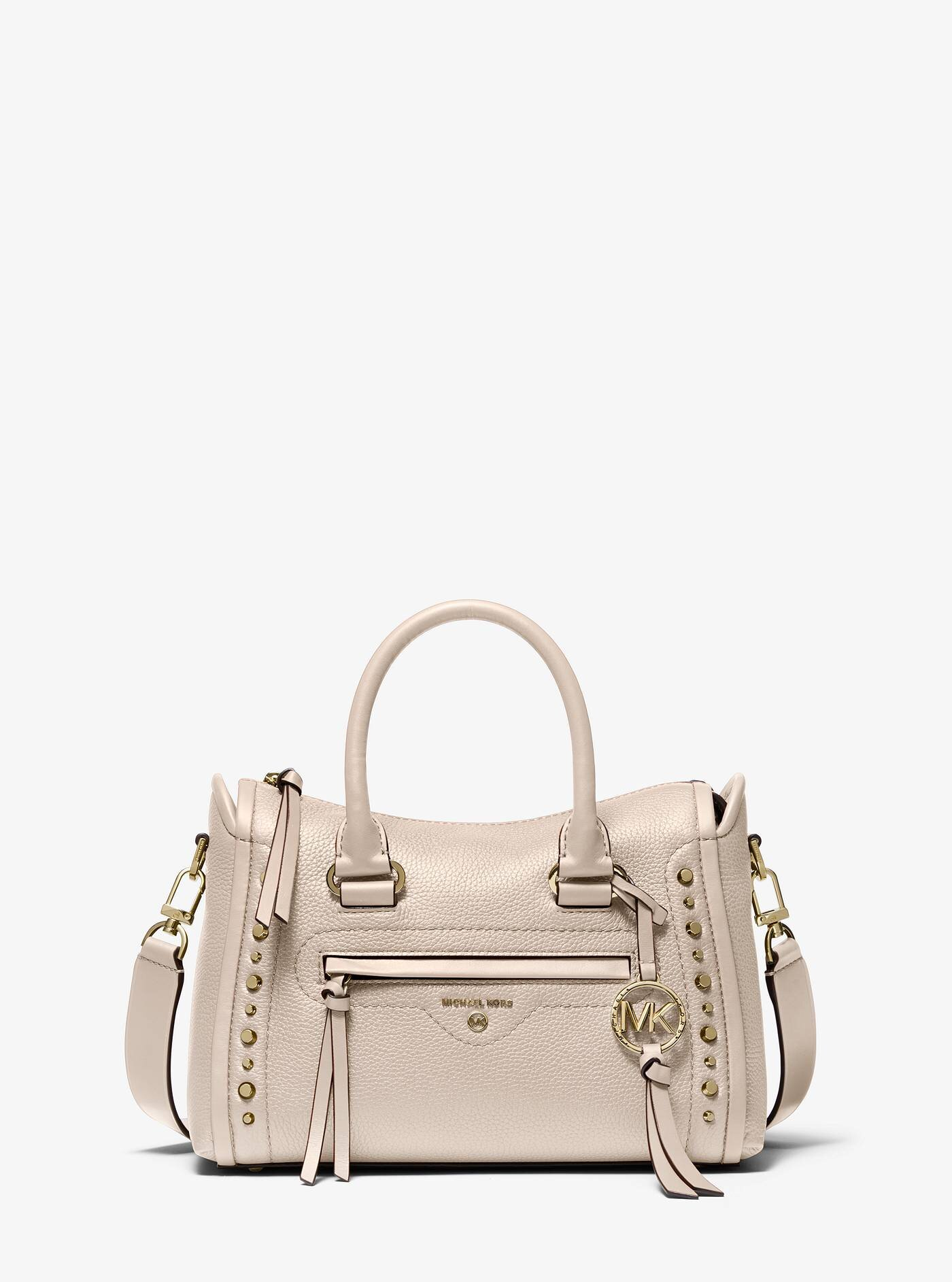 Carine Small Studded Pebbled Leather Satchel